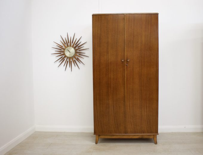 Mid Century Retro Vintage Walnut Gents Wardrobe Robson and Sons #0255 0