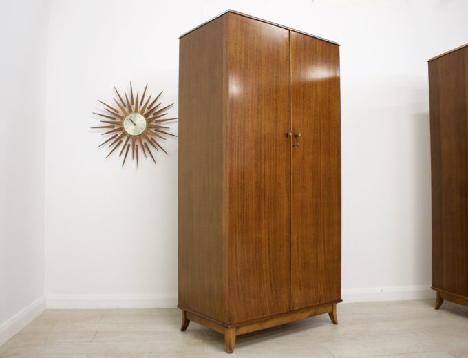 Mid Century Retro Vintage Walnut Gents Wardrobe Robson and Sons #0255 1