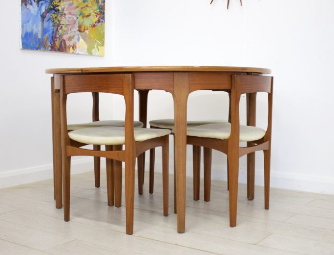 Mid Century Nathan Extending Dining Table & 4 Dining Chairs #0274 0