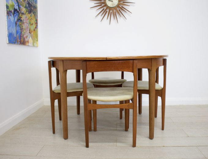 Mid Century Nathan Extending Dining Table & 4 Dining Chairs #0274 1