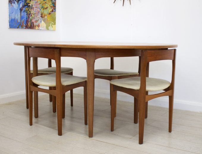 Mid Century Nathan Extending Dining Table & 4 Dining Chairs #0274 5