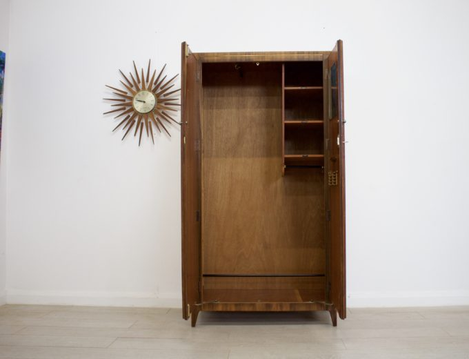 Mid Century Retro Vintage Walnut Gents Wardrobe #0285 2