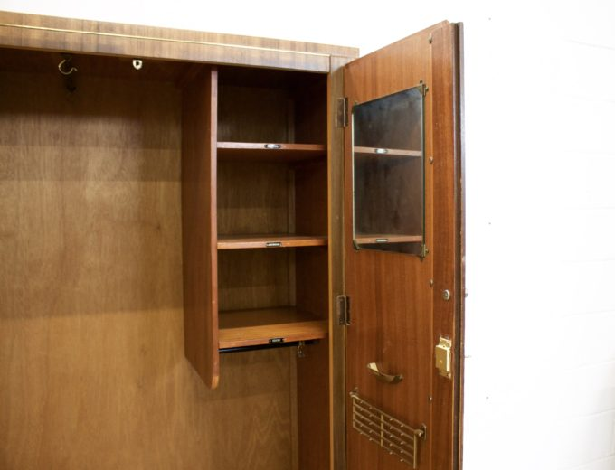 Mid Century Retro Vintage Walnut Gents Wardrobe #0285 3