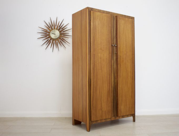 Mid Century Retro Vintage Walnut Gents Wardrobe #0285 4