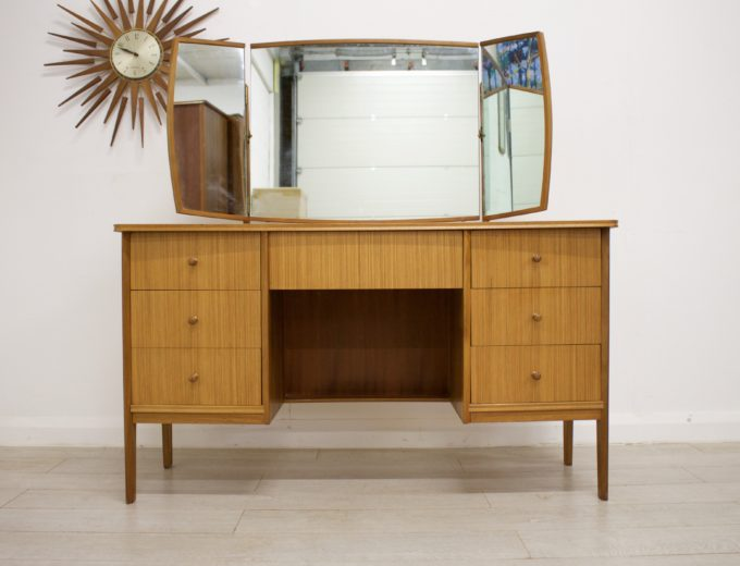 Mid Century Retro Teak & Walnut Vanson Dressing Table #0302 4