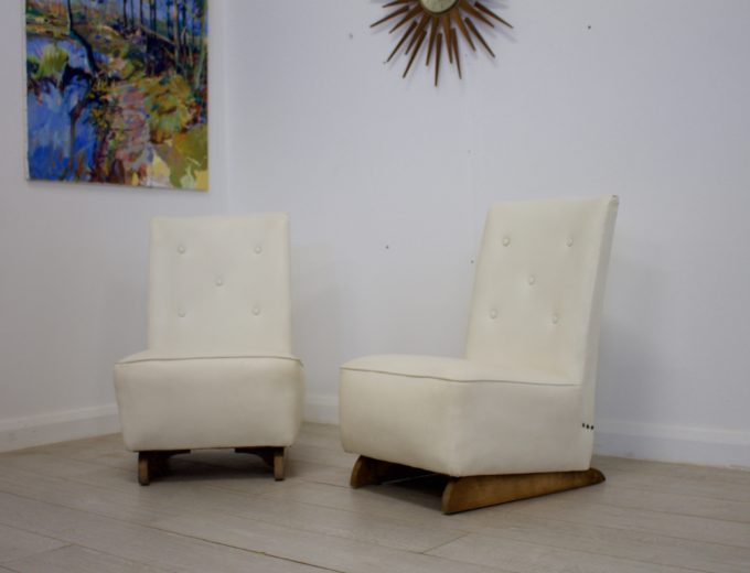 Vintage Art Deco Pair Bedroom / Cocktail Chairs 4