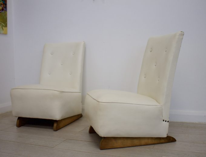 Vintage Art Deco Pair Bedroom / Cocktail Chairs 6