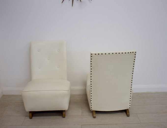 Vintage Art Deco Pair Bedroom / Cocktail Chairs 7