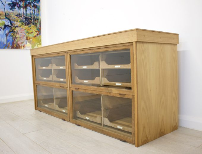 Antique Vintage Oak Haberdashery Cabinet 1