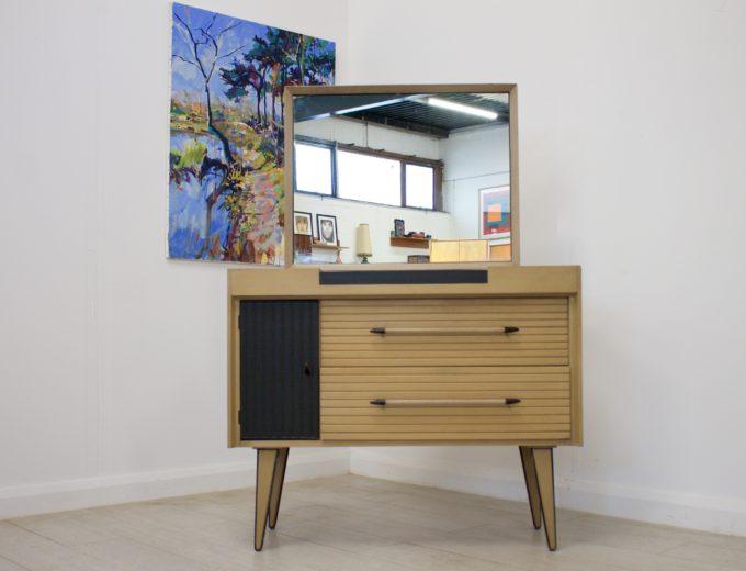 Mid Century Limed Oak Lebus Dressing Table Atomic Range #0314 0