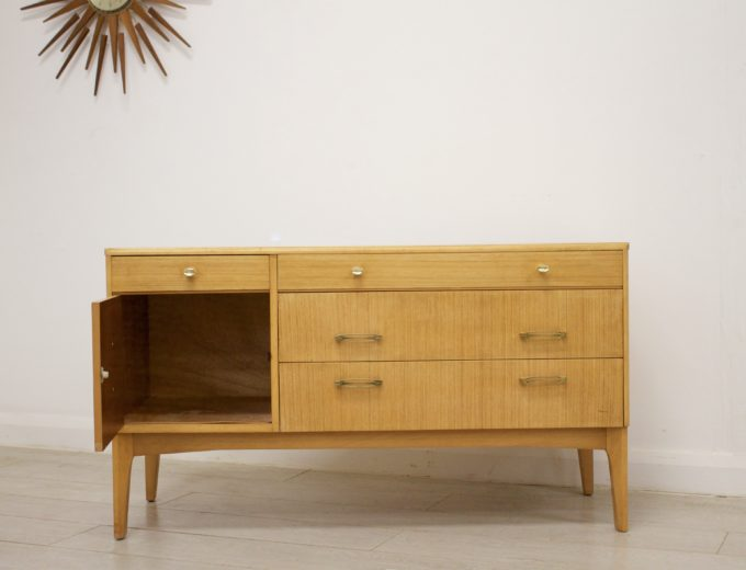 Mid Century Retro Oak Compact Sideboard #0326 7