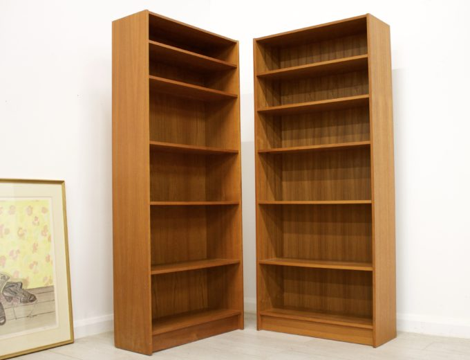 Mid Century Danish Teak Bookcase Domino Mobler (2 Available) #0343 #0344 2