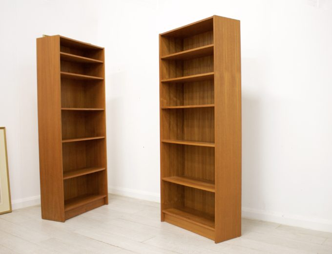 Mid Century Danish Teak Bookcase Domino Mobler (2 Available) #0343 #0344 8