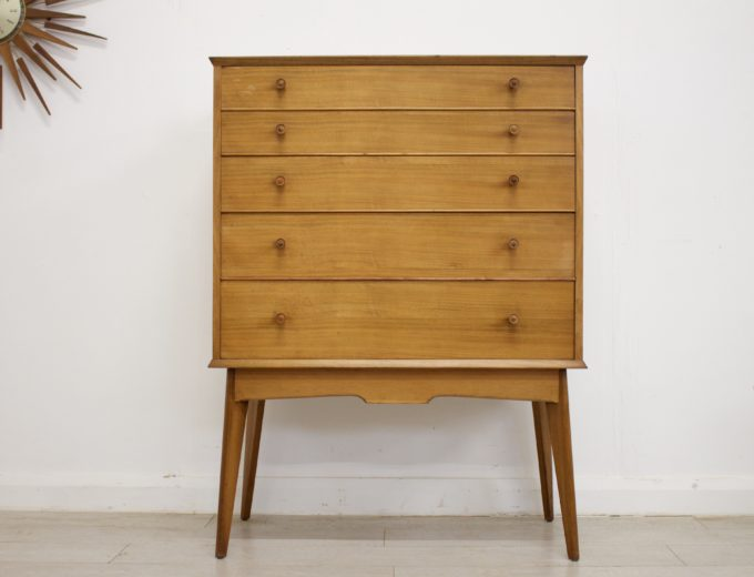 Mid Century Retro Walnut Tallboy Chest of Drawers by Alfred Cox #346 0