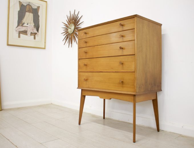 Mid Century Retro Walnut Tallboy Chest of Drawers by Alfred Cox #346 1