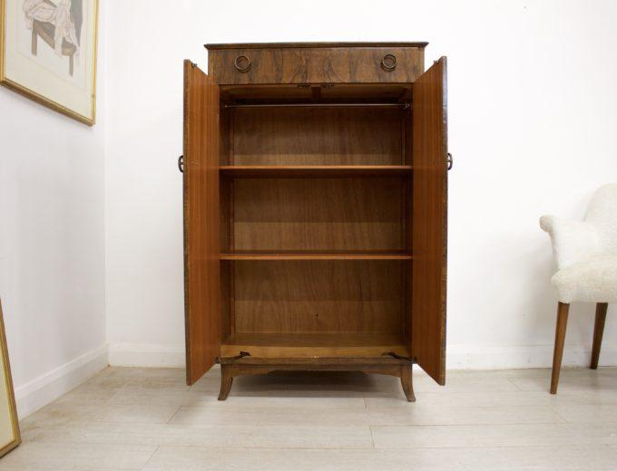Mid Century Vintage Walnut Cupboard Cabinet Tallboy Sideboard Linen Press #347 5