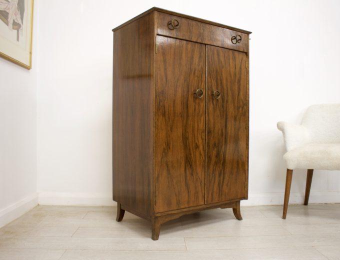 Mid Century Vintage Walnut Cupboard Cabinet Tallboy Sideboard Linen Press #347 6
