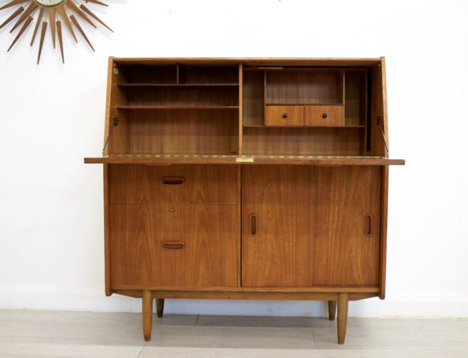Mid Century Retro Teak Bureau Office Desk #0355 0
