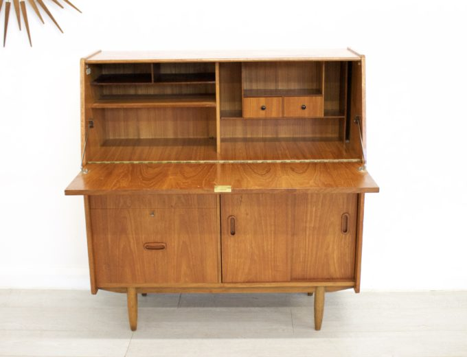 Mid Century Retro Teak Bureau Office Desk #0355 1
