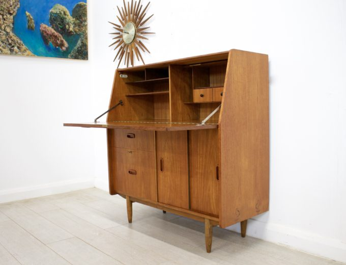 Mid Century Retro Teak Bureau Office Desk #0355 2