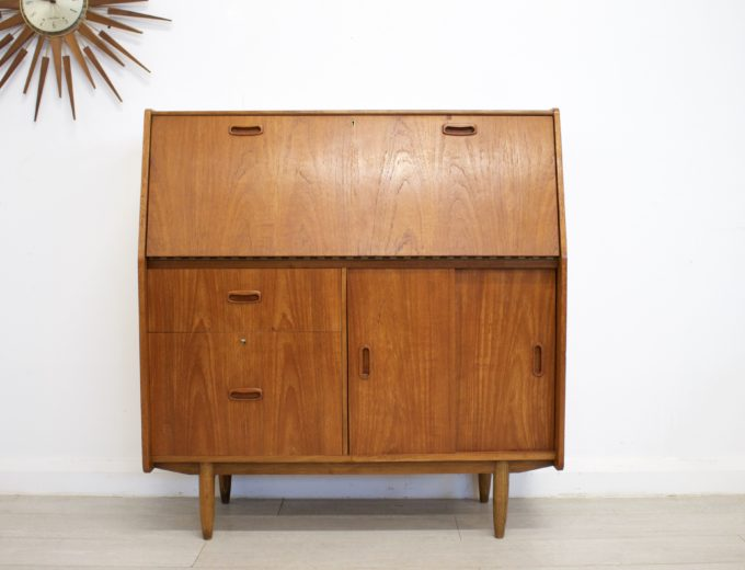 Mid Century Retro Teak Bureau Office Desk #0355 3