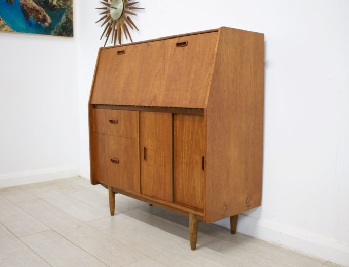 Mid Century Retro Teak Bureau Office Desk #0355 4