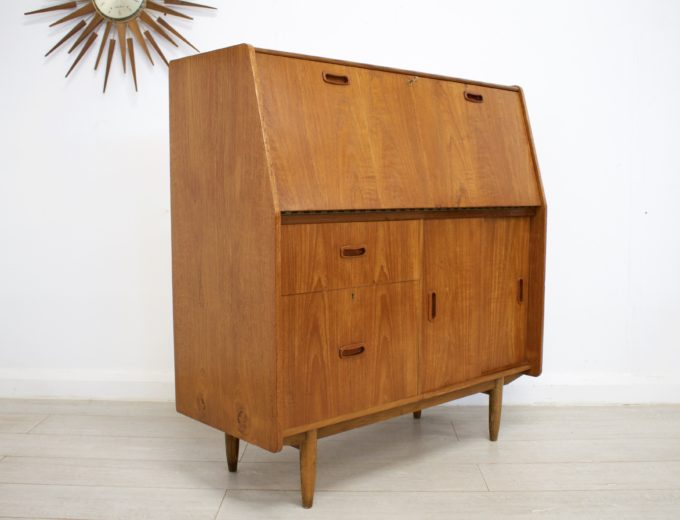 Mid Century Retro Teak Bureau Office Desk #0355 5