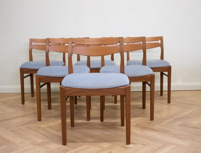 Mid Century Retro Set of 6 Teak Dining Chairs by Nathan #0412 0