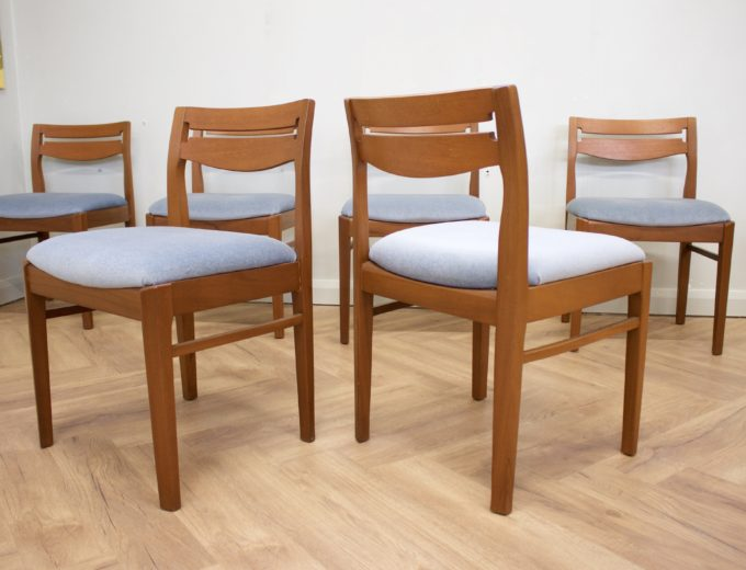Mid Century Retro Set of 6 Teak Dining Chairs by Nathan #0412 1