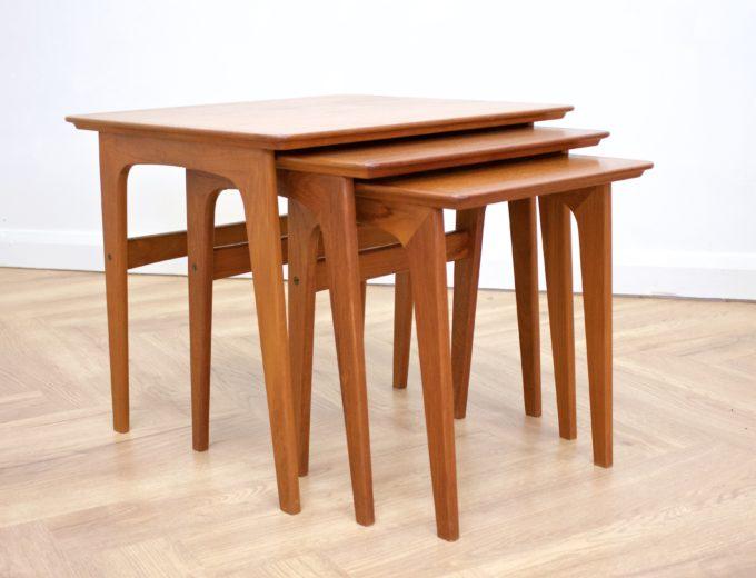 Mid Century Retro Teak Danish Teak Nest of Tables Pedersen for Vejen #0482 0