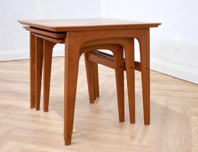Mid Century Retro Teak Danish Teak Nest of Tables Pedersen for Vejen #0482 1
