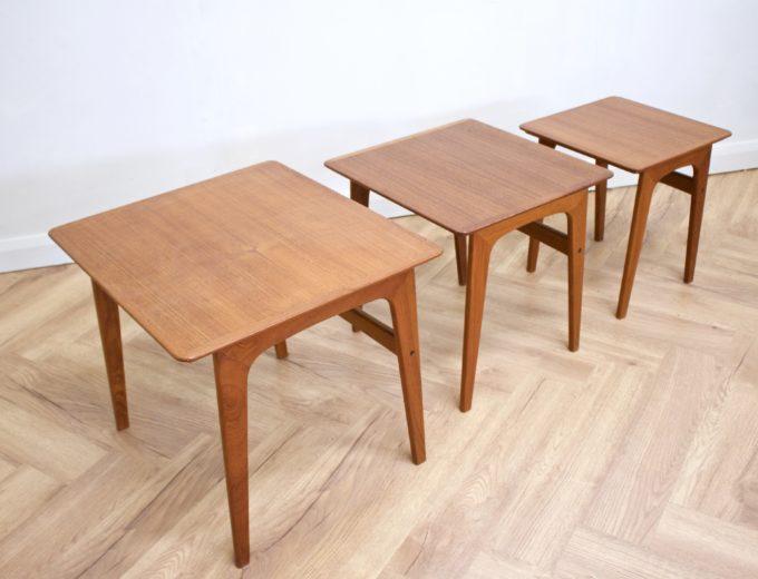 Mid Century Retro Teak Danish Teak Nest of Tables Pedersen for Vejen #0482 2
