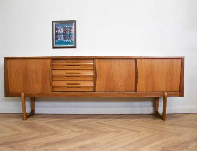 Mid Century Retro Teak Sleigh Leg Sideboard by Elliots of Newbury #0469 2