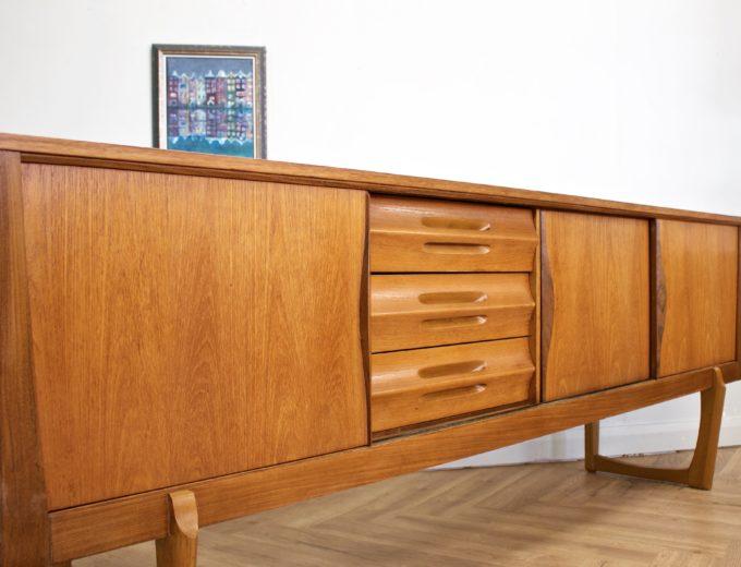 Mid Century Retro Teak Sleigh Leg Sideboard by Elliots of Newbury #0469 4