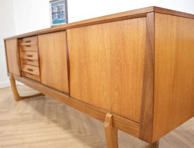 Mid Century Retro Teak Sleigh Leg Sideboard by Elliots of Newbury #0469 6