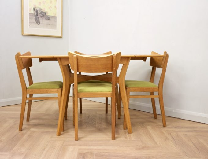Mid Century Drop Leaf Oak Dining Table & 4 Dining Chairs G Plan #0515 0