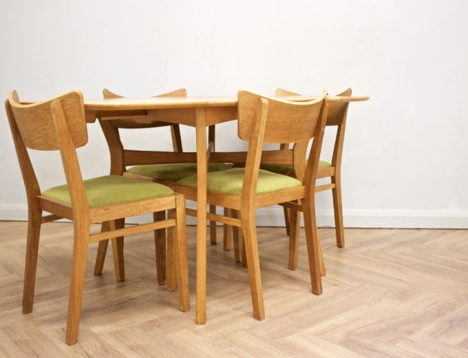 Mid Century Drop Leaf Oak Dining Table & 4 Dining Chairs G Plan #0515 2