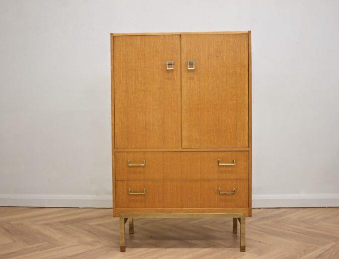 Mid Century Oak Tallboy Linen Cupboard Chest By G Plan #0520 0