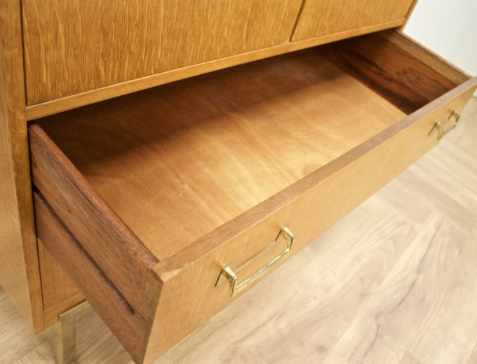 Mid Century Oak Tallboy Linen Cupboard Chest By G Plan #0520 4