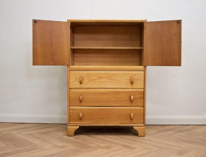 Vintage Antique Art Deco Oak Linen Press Cabinet Tallboy Cupboard #0524 1