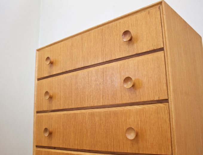 Mid Century Oak Tallboy Chest of Drawers From Meredew #0531 2