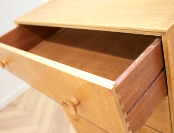 Mid Century Oak Tallboy Chest of Drawers From Meredew #0531 3